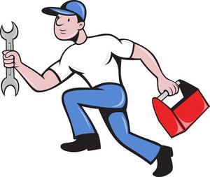 Mechanic Repairman With Spanner Running