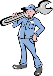 Mechanic With Spanner Wrench Standing