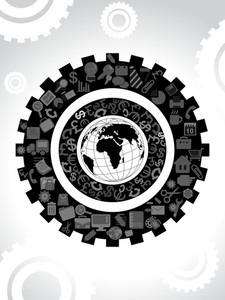 Mechanical Gears With Globe Concept Background