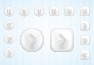 Media Buttons Set Vector Illustration