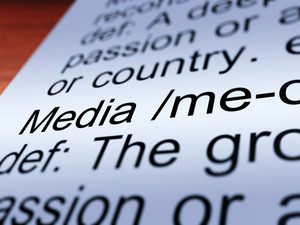 Media Definition Closeup Showing Communication