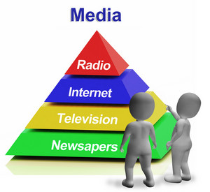 Media Pyramid Having Internet Television Newspapers And Radio