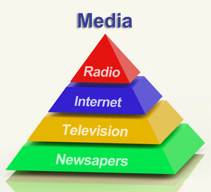 Media Pyramid Showing Internet Television Newspapers And Radio