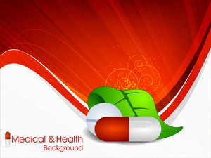 Medical Background With Herbal Capsules And Leaves