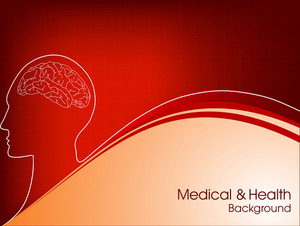 Medical Background With Human Brain On Red Background