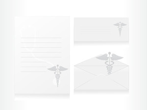 Medical Caduceus Icon On Letter With Envelope