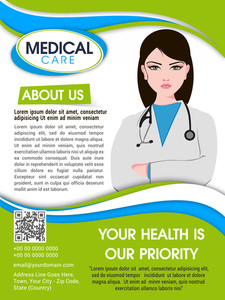 Medical Care template brochure or flyer with illustration of a young female doctor in cross hand pose.