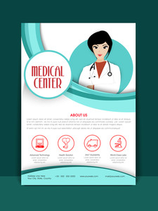 Medical Center Flyer or Brochure layout with illustration of a young female doctor.Medical Center Template