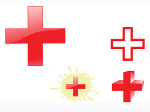 Medical Cross Glossy Icon Set