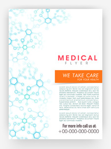 Medical flyer template or brochure design decorated with blue molecules with place holders.
