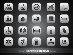 Medical Icons Set Isolated On Grey Background.