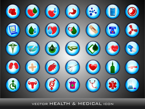 Medical Icons Set On Grey Background.