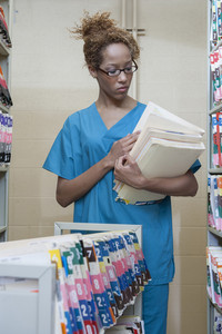 Medical professional with medical records
