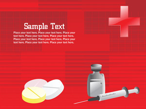 Medical Supplies On Red Background