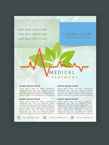 Medical Treatment flyer template or banner design with heartbeat and fresh green leaves.