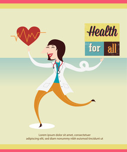 Medical Vector Illustration With Infographic Elements And Doctor (editable Text)