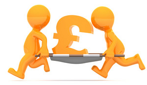 Medics Carrying Pound Currency Sign. Conceptual Economic Illustration.