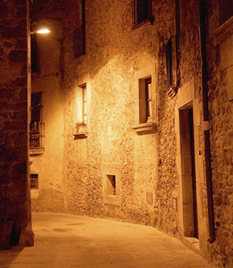 Medieval Narrow Dark Alley At Night