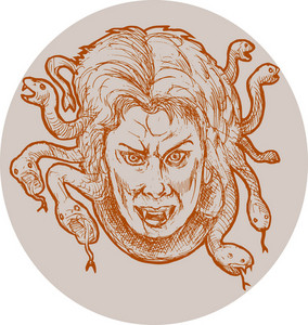 Medusa Greek Methology Snakes As Hair