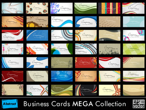 Mega Collection Abstract Business Cards Set In Various Concepts. Vector Illustration In Eps 10 Vector Format.