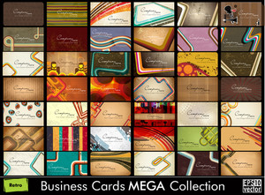 Mega Collection Abstract Vector Retro Business Cards Set In Various Concepts. Vector Illustration In Eps 10 Format.