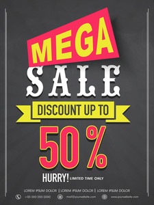 Mega sale flyer banner or template design with best discount offer for your business.