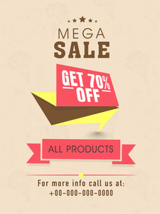 Mega sale flyer banner or template design with discount offer on all products.