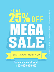 Mega sale flyer banner or template design with flat discount offer.