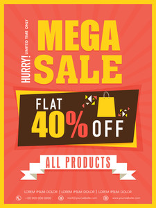 Mega sale flyer banner or template with flat discount on all products .