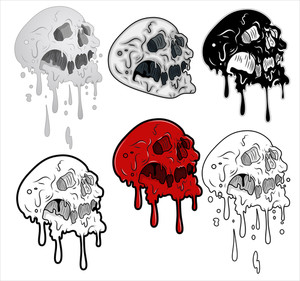Melting Skulls Vector Illustration