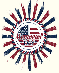 Memorial Day Vector Illustration With American Badge