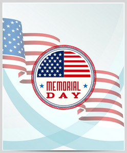 Memorial Day Vector Illustration With American Flag And Badge