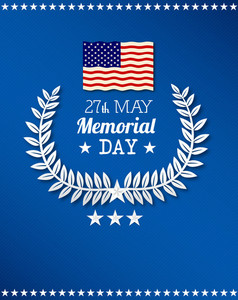 Memorial Day Vector Illustration With American Flag And Laurel