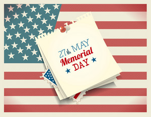 Memorial Day Vector Illustration With American Flag And Post It
