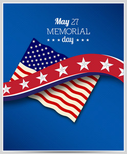 Memorial Day Vector Illustration With American Flag And Star