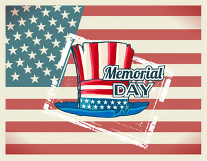 Memorial Day Vector Illustration With American Flag, Hat And Stamp