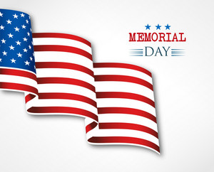 Illustrazione Memorial Day vettore con la bandiera americana