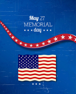 Memorial Day Vector Illustration With American Flag