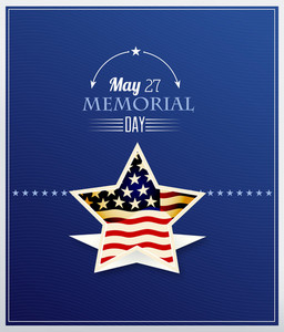 Memorial Day Vector Illustration With American Frag And Star