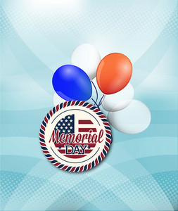 Memorial Day Vector Illustration With Badge And Balloons