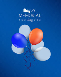 Memorial Day Vector Illustration With Balloons