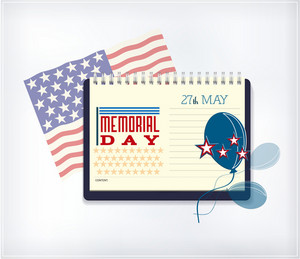 Memorial Day Vector Illustration With Calendar And American Flag