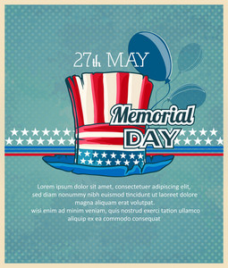 Memorial Day Vector Illustration With Hat And Balloons