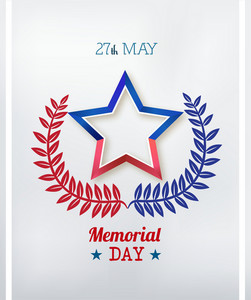 Memorial Day Vector Illustration With Laurel And Star
