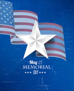 Memorial Day Vector Illustration With Star And American Flag