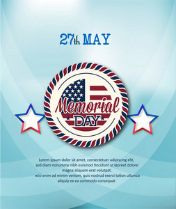 Memorial Day Vector Illustration With Star And Badge