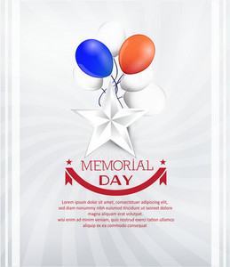 Memorial Day Vector Illustration With Star And Balloons