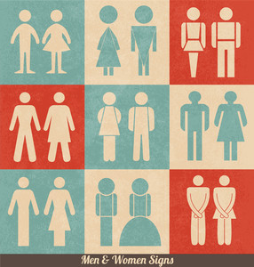 Men And Women Signs | Retro Design | Wc Icons | Restroom Signs | Toilet Pictograms