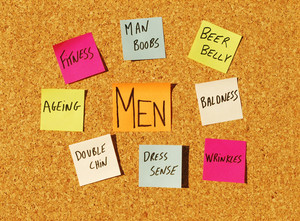 Men Concerns On A Cork Board