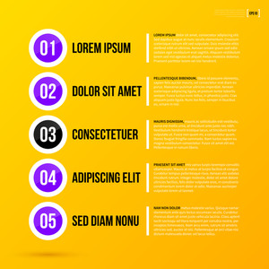 Menu Template With 5 Options On Bright Yellow Background. Eps10